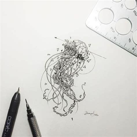 geometric tattoo jellyfish super half geometric jellyfish pierced with thin arrow