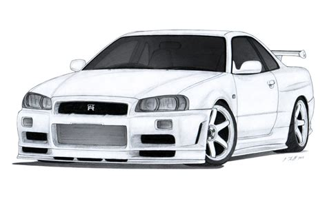 nissan skyline drawing by nissan skyline gt r r34 drawing by vertualissimo on deviantart