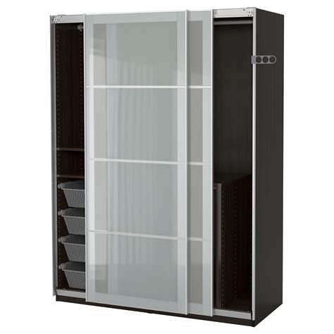 pax wardrobe black brown sekken frosted glass 150x66x201