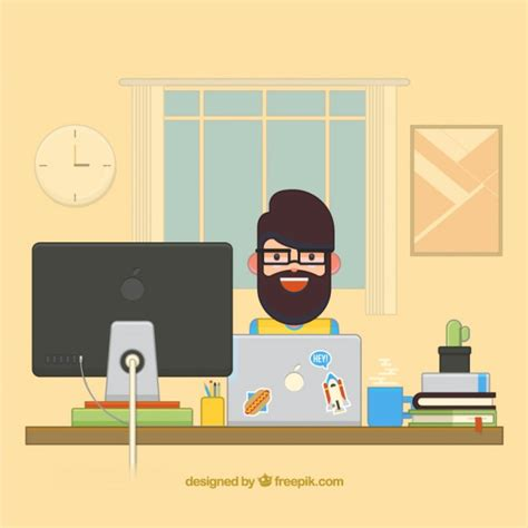 graphic design desk flat graphic designer desk vector free
