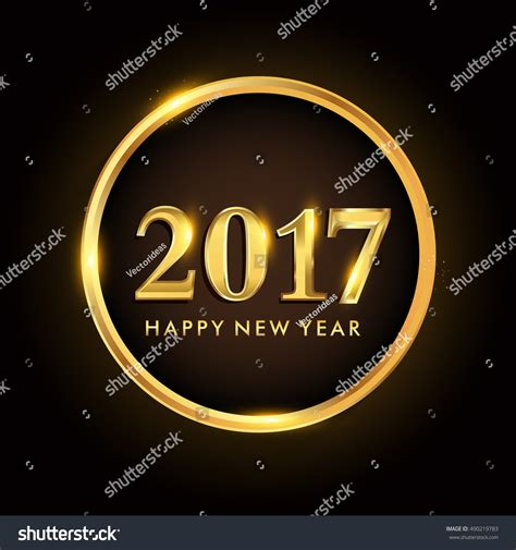 new year 2017 element happy new year 2017 isolated on gold ring vector design