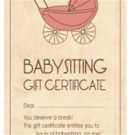 printable babysitting vouchers free babysitting gift certificate printable what a