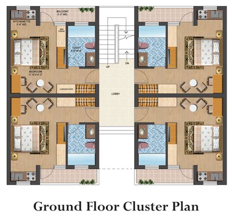 Centralized Floor Plan by Omaxe Eternity 2 Bhk Flats In Vrindavan