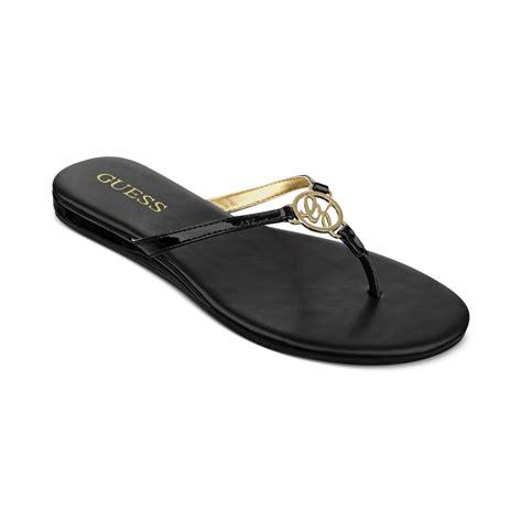 black sandals flat guess julsy flat sandals in black lyst