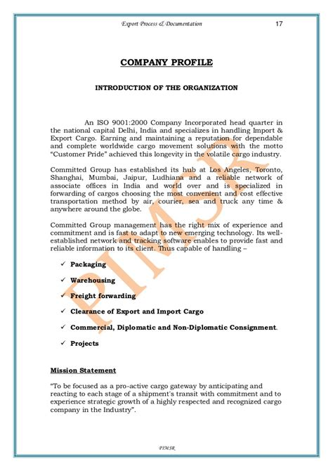 Logistics Company Introduction Letter To Client A Project Report On Export Process And Documentation