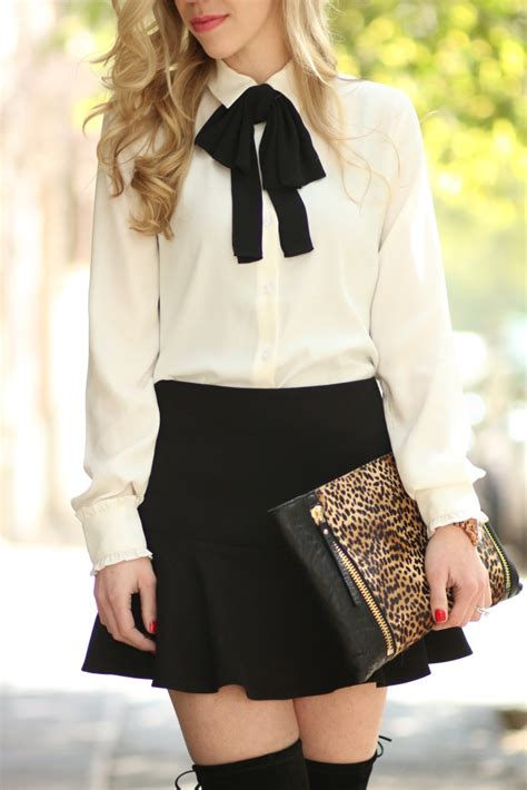 Reyn Shop Blouse Mimi Top Black chanel inspired bow tie blouse flounce mini skirt