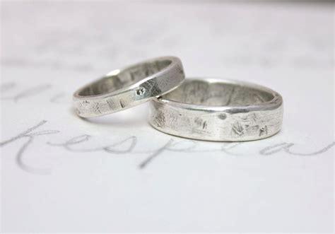 Eheringe Rustikal by Rustic Wedding Band Ring Set Custom Recycled Silver Wedding