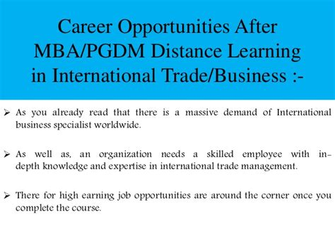 Mba Distance Education Study Material by Post Graduation In International Trade Management Scope