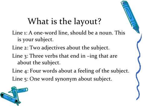 layout definition poetry cinquain power point lesson