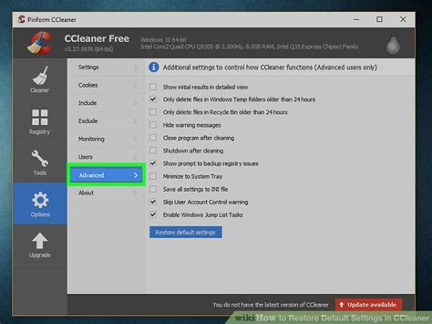 ccleaner recovery how to restore default settings in ccleaner 6 steps