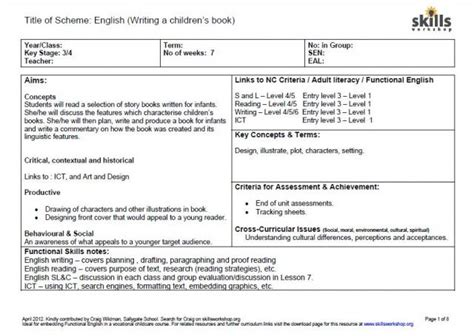 early years lesson plan template lesson plan skills workshop