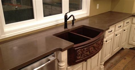 concrete countertop with integrated sink concrete countertops by burco surface decor hometalk