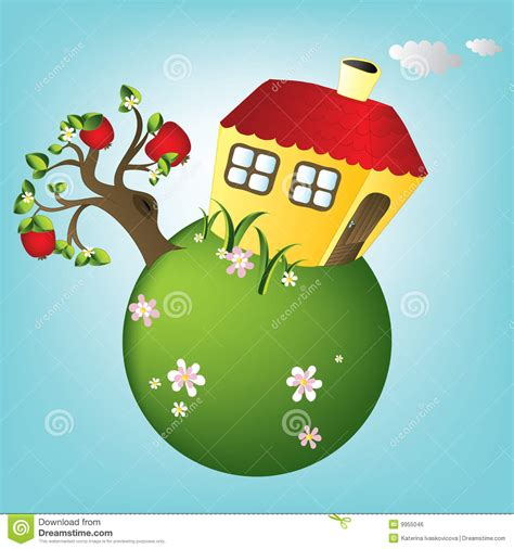 house planet cartoon house on planet vector royalty free stock image