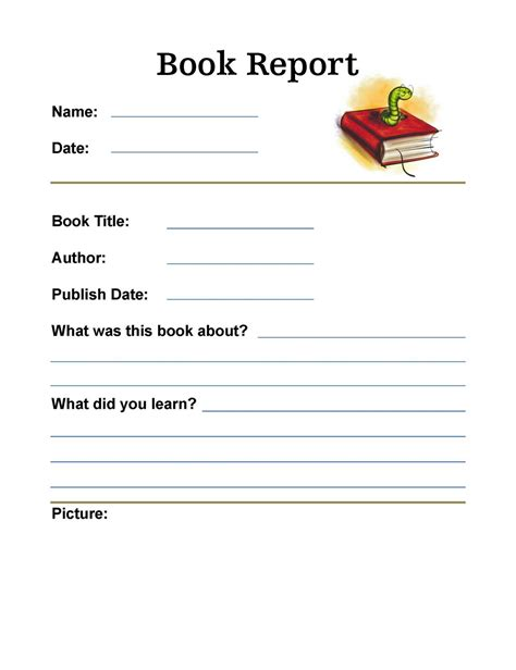 one page book report template so much to learn july 2010