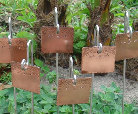 garden markers plant markers copper feathered friends