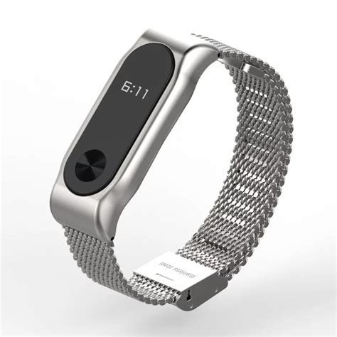 Mijobs Stainless Steel For Mi Band 2 Oled Original bracelet xiaomi band 2