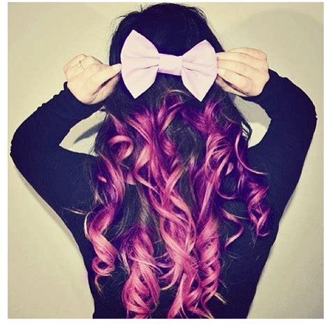 Dyed Hairstyles Purple | purple dip dye hair with a cute bow dip dye hair