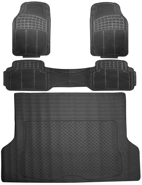 4pc all weather heavy duty rubber suv floor mat black 2 row trunk liner 3c ebay