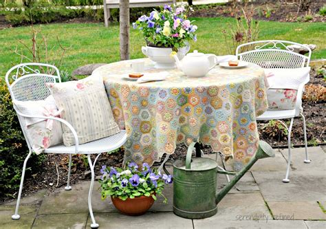 Painted Patio Furniture Serendipity Refined White Spray Painted Metal Patio Furniture And Tea In My Garden