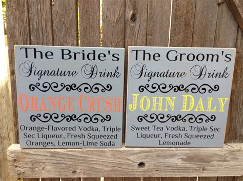 bride and groom signature drink wedding sign with custom