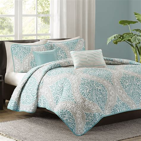 aqua quilts coverlets senna aqua quilted coverlet set by intelligent design