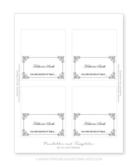 Place Name Cards Template by Place Cards Template Lisamaurodesign