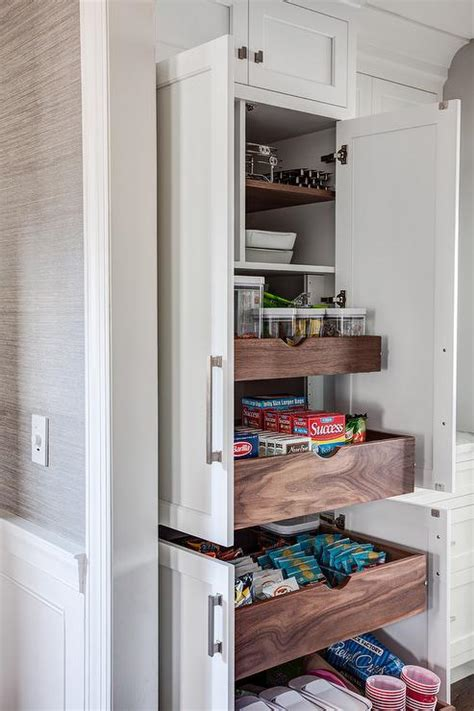 hidden pantry  stacked pull  shelves transitional