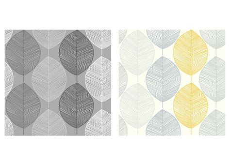 grey wallpaper with leaves arthouse scandi leaf yellow or black grey retro