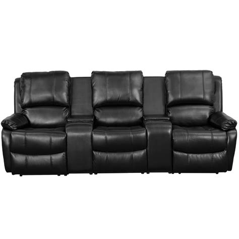 reclining theatre chairs allure series 3 seat reclining pillow back black leather