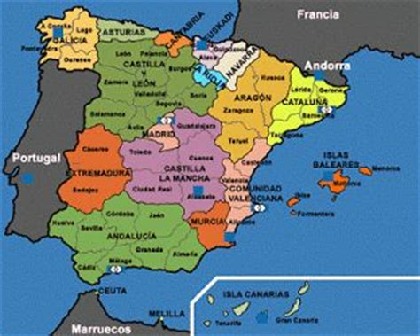 spain three cities map of spain with regions and major cities spanish learning maps spain and cities