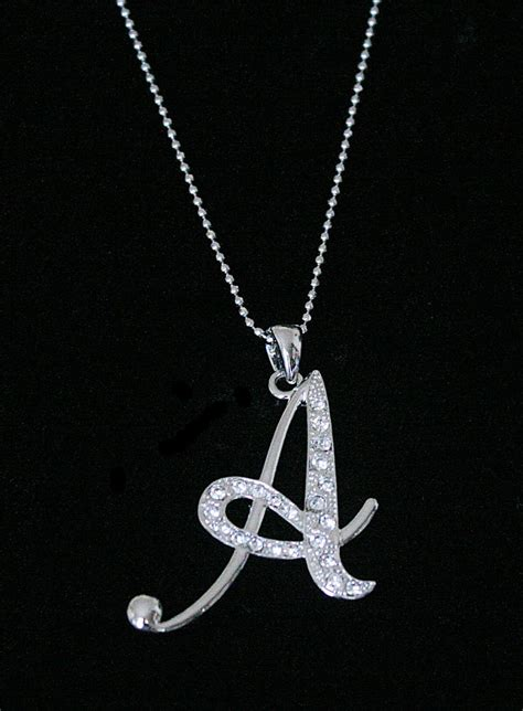 Letter Necklace Quot A Quot Letter Initial Alphabet Pendant Charm Necklace Clear Crystals Large Silver T Ebay