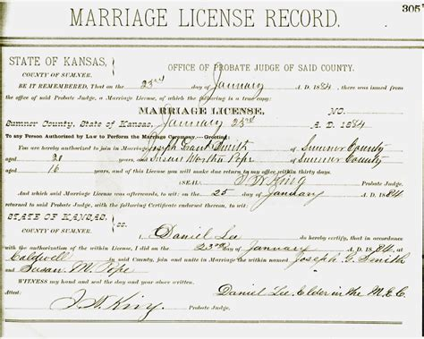 Dupage County Marriage Records Some History Of Smith Pope Families Of Kansas