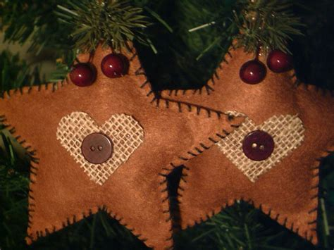 Handmade Country Ornaments - two new handmade primitive rustic country style fabric