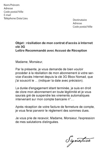 Lettre De Resiliation Mobile Coriolis Modele Lettre Resiliation Cle 3g Sfr Document