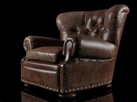 Churchill Chair by Churchill Leather Chair With Nailheads 3d Model Restoration Hardware