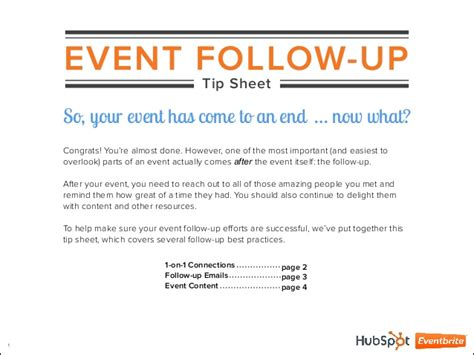 Follow Up Email After Mba Info Session by 9 Event Follow Up Tip Sheet