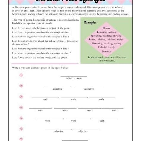 synonym for template diamante poem worksheet resultinfos