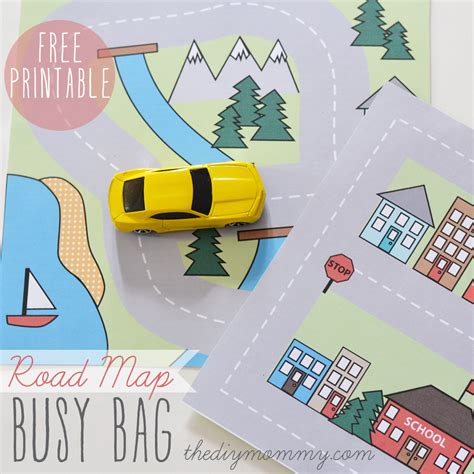 printable road maps for toy cars make a mini road map busy bag free printable the diy mommy