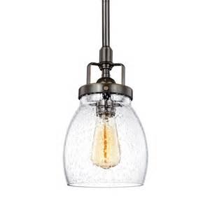 Seeded Glass Pendant Lights Shop Sea Gull Lighting Belton 5 37 In Heirloom Bronze Industrial Mini Seeded Glass Bell Pendant