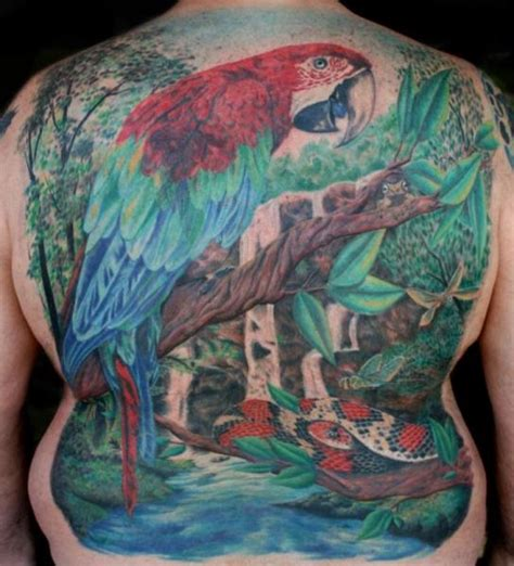 tattoo oriental paisagem back landscape parrot tattoo by cartel ink works