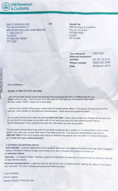 National Insurance Letter A Tax Tells Of Two Quot Sorry You Re Dead But You Owe Us Money Quot In Letter Mirror