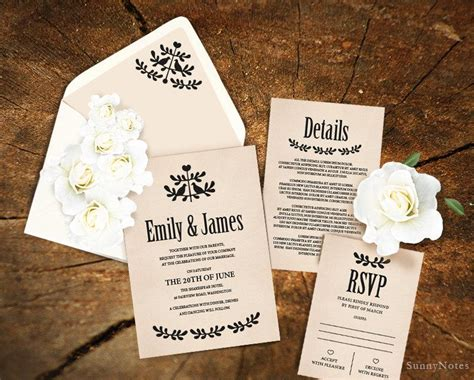 diy wedding card template editable rustic wedding invitation template printable