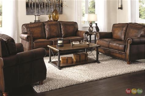 nailhead trim sofa set traditional brown leather sofa homelegance midwood bonded