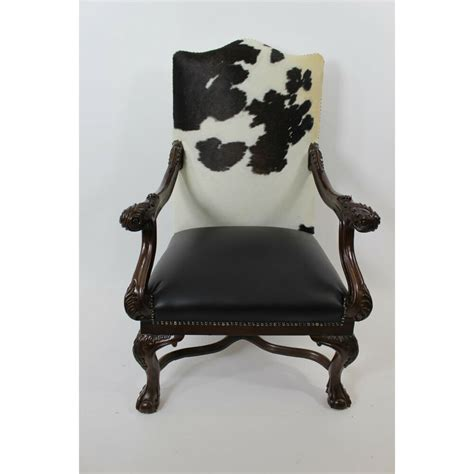 executive cowhide chippendale chair black and white ebay - Black And White Cowhide Chair