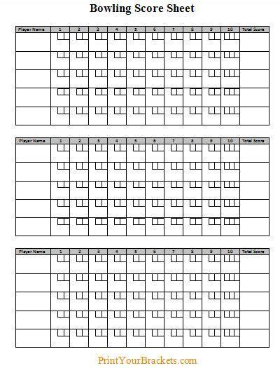 Bowls Score Cards Template by Bowling Score Sheet Pinteres