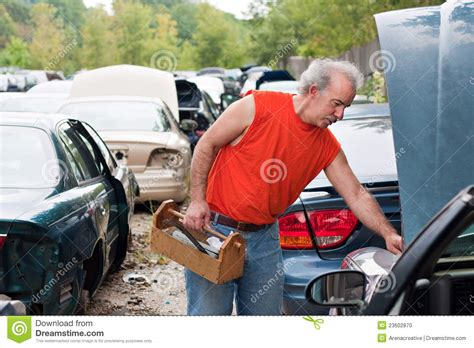 Backyard Mechanic Backyard Mechanic Junk Yard Shopping Stock Photo Image