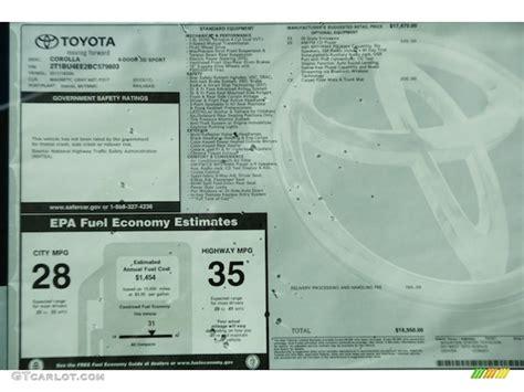Toyota Window Sticker By Vin 2011 Toyota Corolla S Window Sticker Photos Gtcarlot