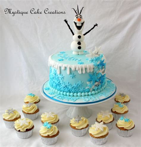 frozen inspired cake featuring olaf figurine made by