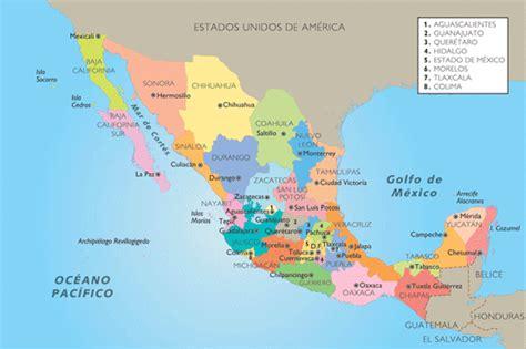 geografia de mexico mexico mapa estados y capitales