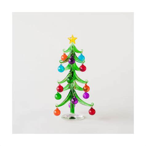 Classic Home Decoration mini modern glass christmas tree with clear base 10 quot 25cm
